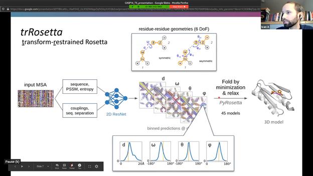 그림 6. trRosetta의 성과를 보고하는 베이커 그룹(CASP14).