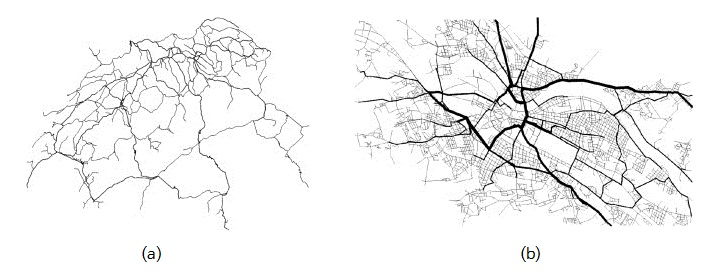Fig. 1. (a) Railroad network of Switzerland.[4] (b) Road network and its betweenness centrality of Dresden, Germany.[5]