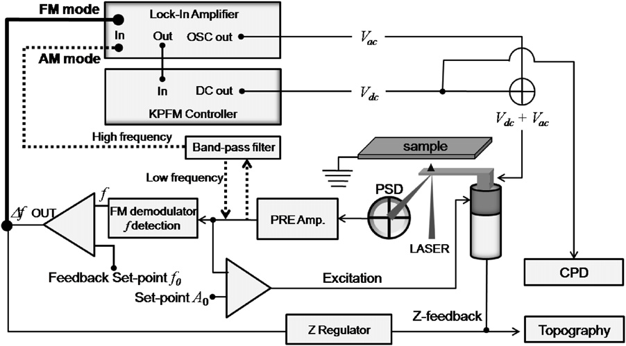 Fig. 3. Schematic diagram of SKPM system showing AM and FM mode. Lower part of the diagram is an FM mode AFM system for topography imaging and upper part is a SKPM system for CPD measurement. Adapted from Ref. 4.