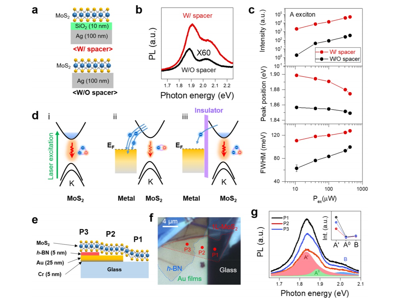 Fig. 4. Charge transfer effects in complex excitons at MoS2-metal contacts. (Reprinted (adapted) with permission from Ref. [9]. Copyright 2020 American Chemical Society.)