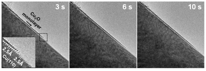 Fig. 1. <em>In situ</em> TEM observation of the growth of Cu<sub>2</sub>O monolayer on Cu(110) surface. [3, reprinted figure with permission from RNP/20/AUG/029826]