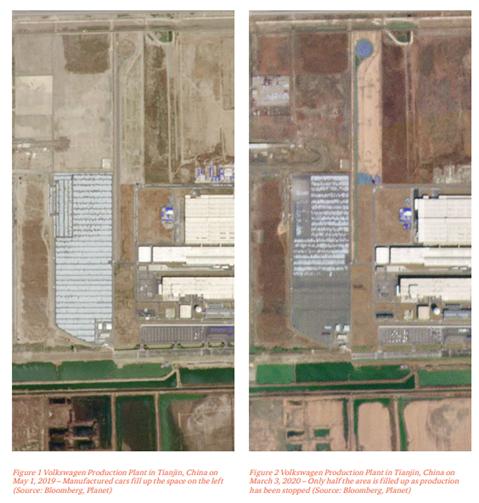 중국의 폭스바겐 공장의 코로나 전후 자동차 생산량 변화 정도(출처: Insight from space 보고서- Luigi Scatteia and Aravind Ravichandran, 2020)