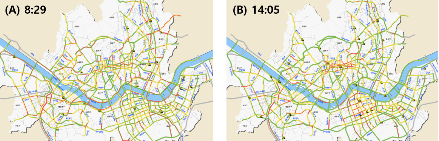 Fig. 1. Road traffic flows in Seoul on Apr. 15th 2021. (A) Measured at 8:29. (B) Measured at 14:05. The images are generated by TOPIS, the transport operation & information service of Seoul.[9]