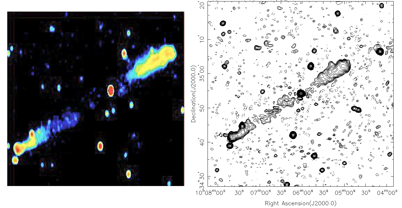 Radio image of a giant radio galaxy 3C236 (Credits: NVSS, WRST, Mack et al. (1996)). This giant radio galaxy is 1.3 billion light-years (z=0.1) from the solar system.