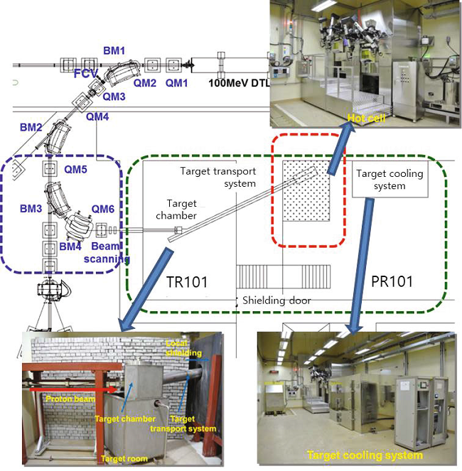 Fig. 6. TR101 beamline for the medical isotope production.