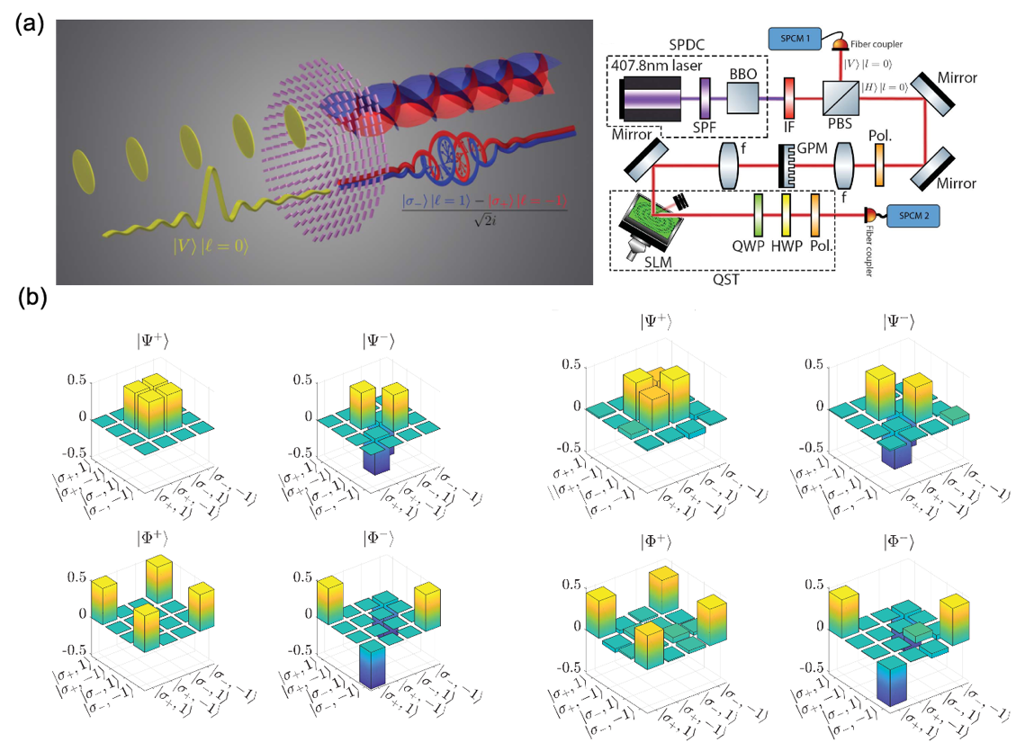 Fig. 5. Entanglement between spin and orbital angular momentum on a single photon and experimental setup. (b) (left) Theoretical calculated and (right) experimentally measured density matrices for Bell states.[7]