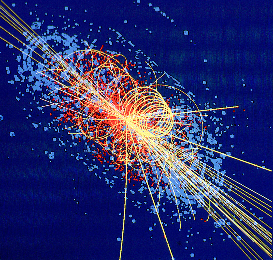 Fig. 6. Computer simulation of particle traces from an LHC collision in which a Higgs boson is produced. [Image Credit: CERN]