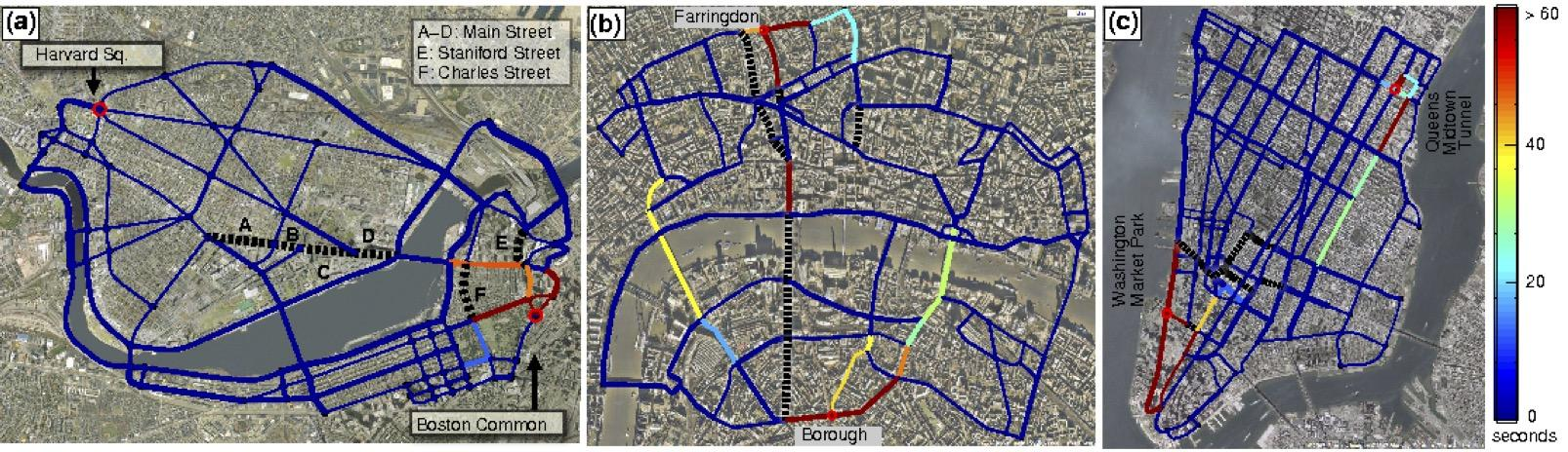 Fig. 2. Networks of principal roads in (a) Boston, USA, (b) London, UK and (c) New York, USA. The color corresponds to the additional travel time needed if the road is cut.[7]