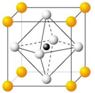Fig. 4. Crystal structure of perovskite ABO3; A(yellow), B(black), O(white).